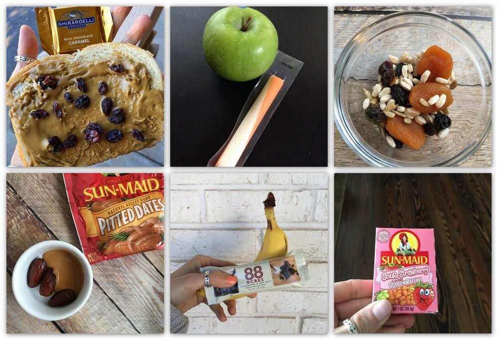 Various allergy-friendly snacks featuring Sun-Maid raisins