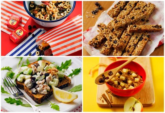 Various snack foods featuring Sun-Maid raisins