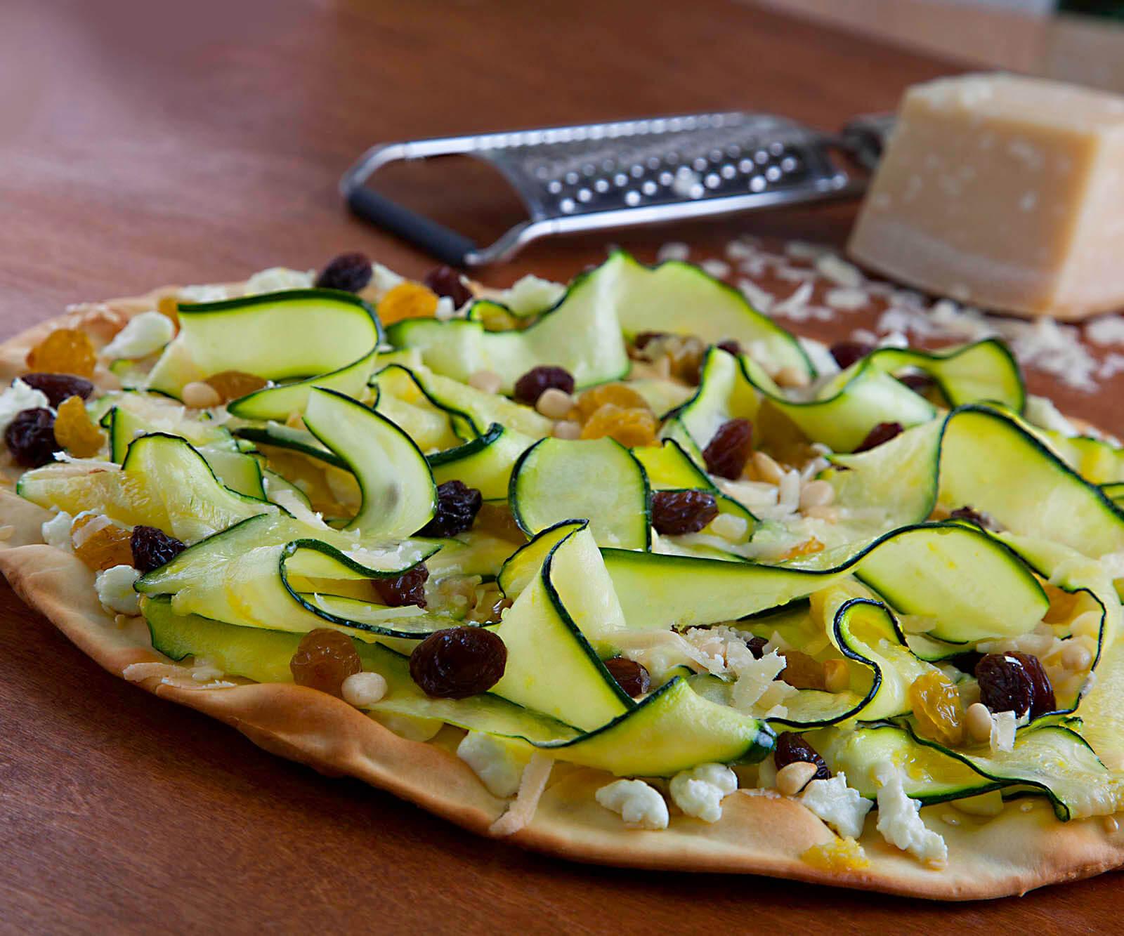 Fresno-Valley Zucchini and Raisins Pizza