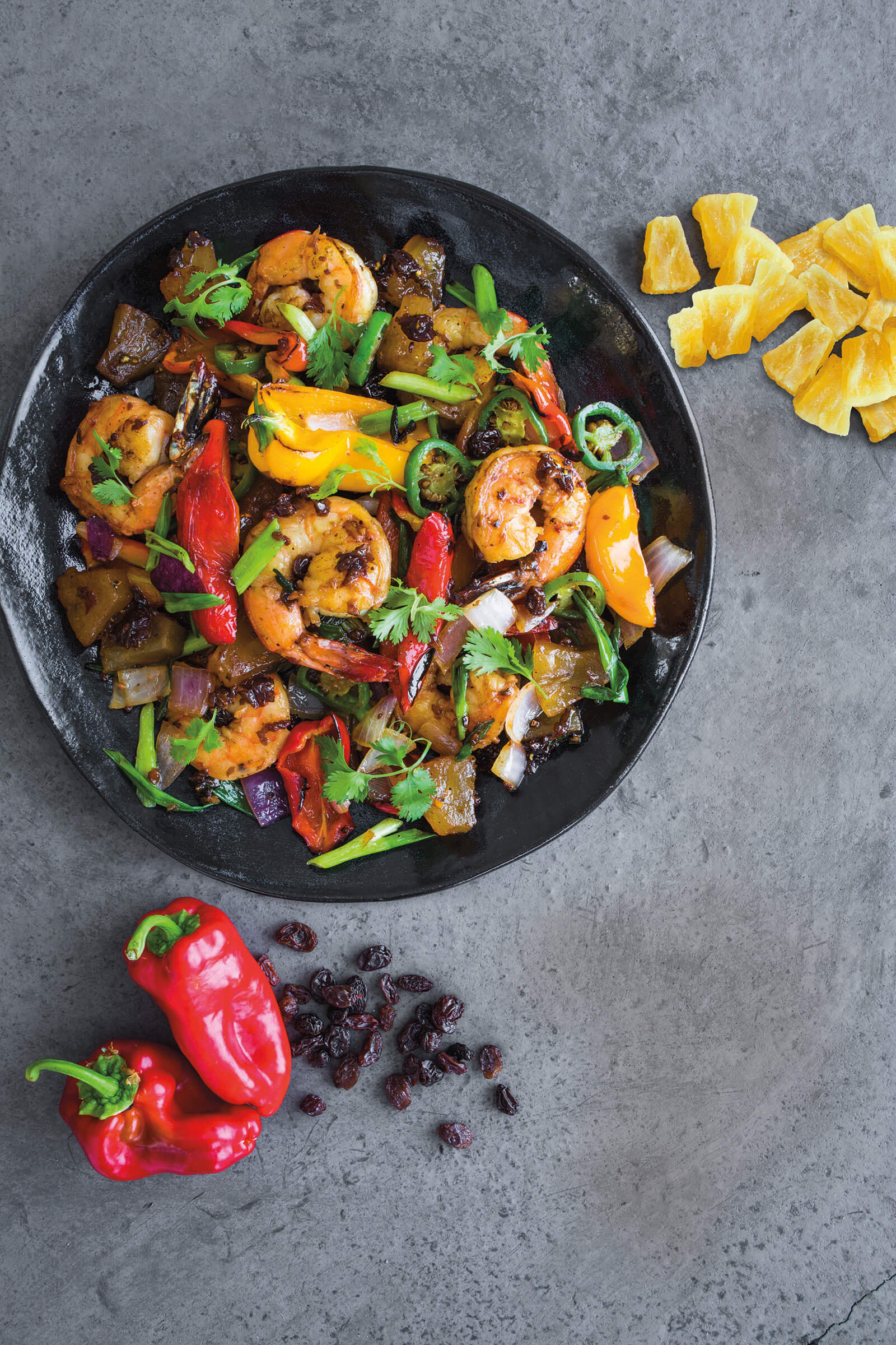 Pineapple and Raisin Shrimp Stir Fry